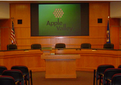 Council Chambers Screen with City Logo