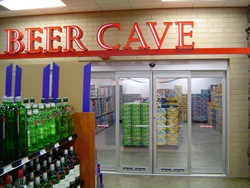 entrance to beer cave with liquor products